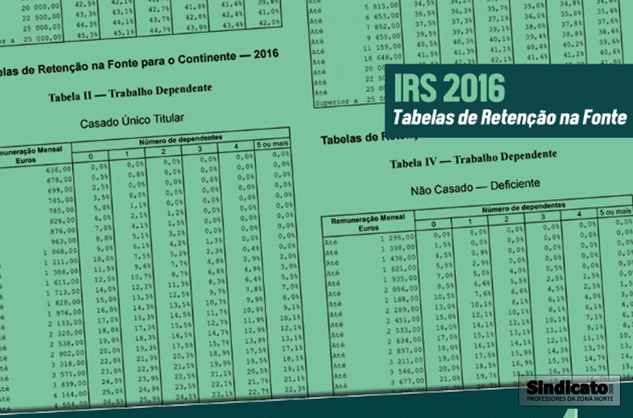 tabela irs para 2016 irs 2016 tabelas de reten 231 227 o ...